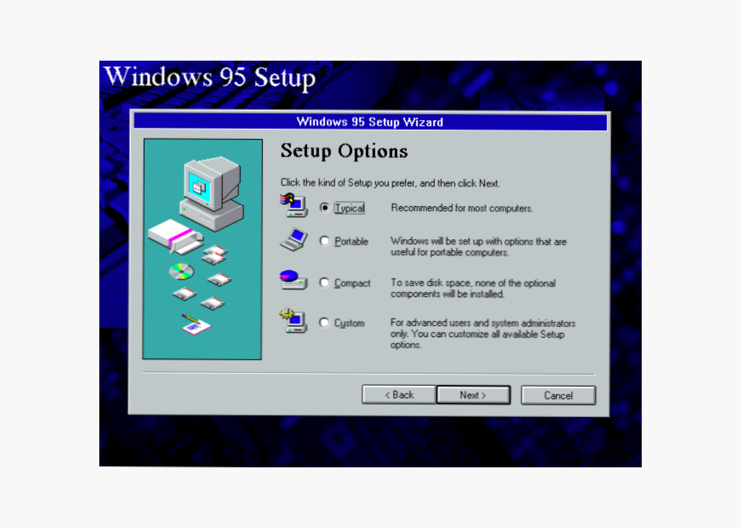 Windows 95 light and shadow image